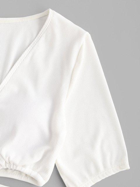 ZAFUL Maillot de Bain Court Côtelé Noué Deux Pièces - Blanc L Mobile