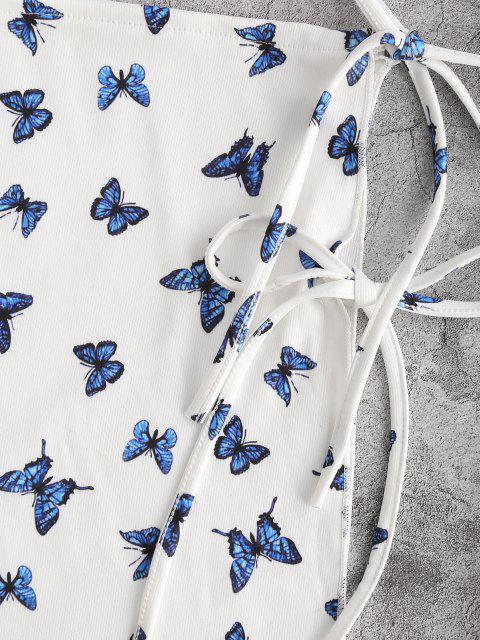 women's Slit Tied Butterfly Print Cover-up Skirt - BLUE ONE SIZE Mobile