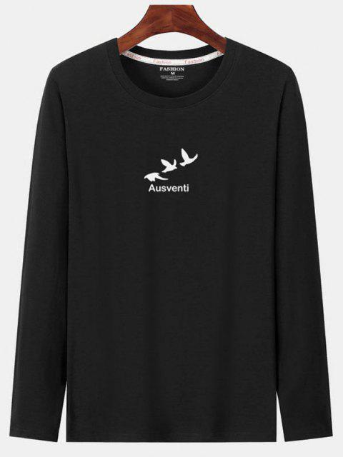 ladies Long Sleeve Birds Graphic Print T-shirt - BLACK XS Mobile