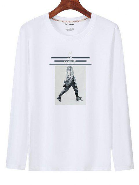 Graphic Print Long Sleeves T-shirt - أبيض M Mobile