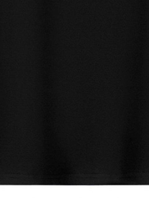 trendy Graphic Print Long Sleeves T-shirt - BLACK XS Mobile