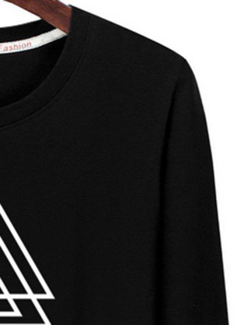 T-shirt de Manga Comprida Estampado Geométrico - Preto XL Mobile