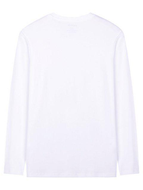 T-shirt de Manga Comprida Estampado Geométrico - Branco S Mobile