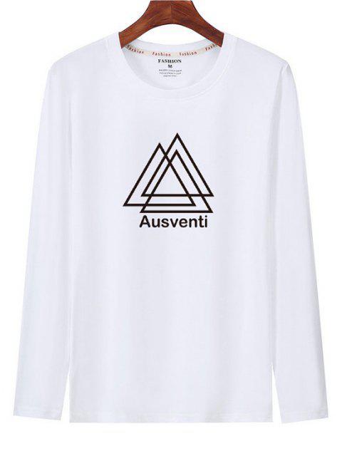T-shirt de Manga Comprida Estampado Geométrico - Branco M Mobile