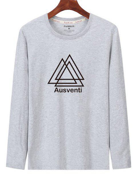 T-shirt de Manga Comprida Estampado Geométrico - Cinza claro S Mobile