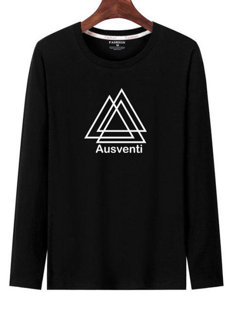 T-shirt de Manga Comprida Estampado Geométrico - Preto L Mobile