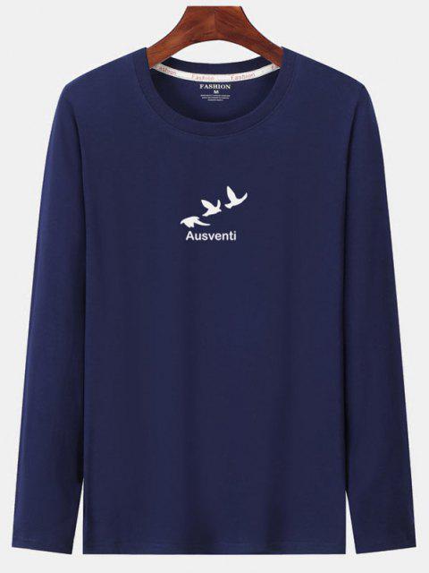 lady Long Sleeve Birds Graphic Print T-shirt - CADETBLUE XL Mobile