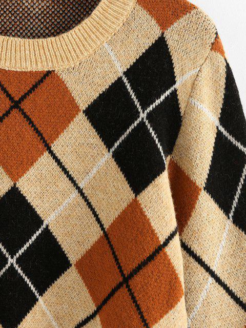 ZAFUL Argyle Crop Pullover - Licht Kaffee M Mobile