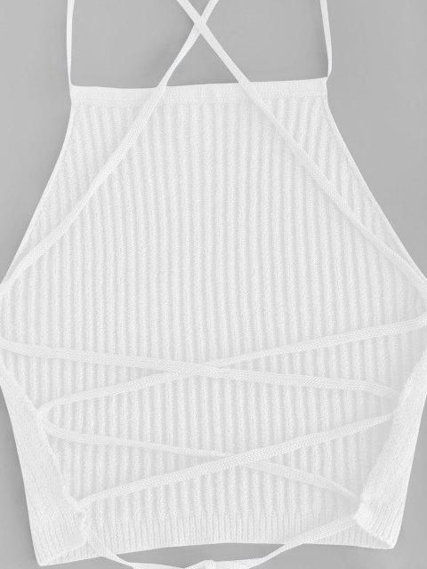 new Open Back Crisscross Knitted Two Piece Dress - WHITE L Mobile