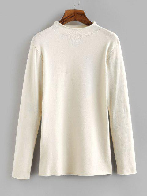 latest Mock Neck Rolled Hem Jersey Sweater - WHITE ONE SIZE Mobile