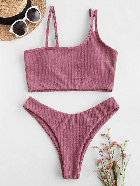 ZAFUL Gerippte Tankini Badebekleidung mit Schiefem Kragen und Hohem Schnitt - Hell-Pink S Mobile