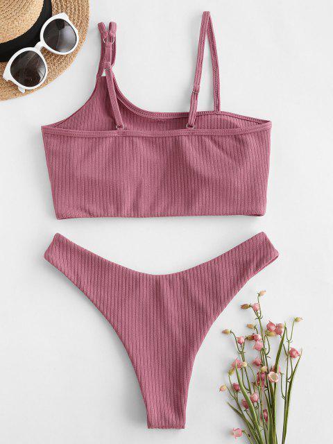 ladies ZAFUL Ribbed Skew Collar High Cut Tankini Swimwear - LIGHT PINK M Mobile