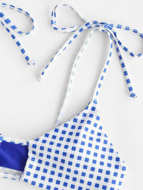 shop ZAFUL Gingham Tie Keyhole Tanga Bikini Swimwear - BLUE S Mobile