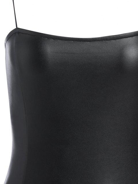ZAFUL Bodysuit con Espalda Abierta de Cuero Imitación - Negro M Mobile