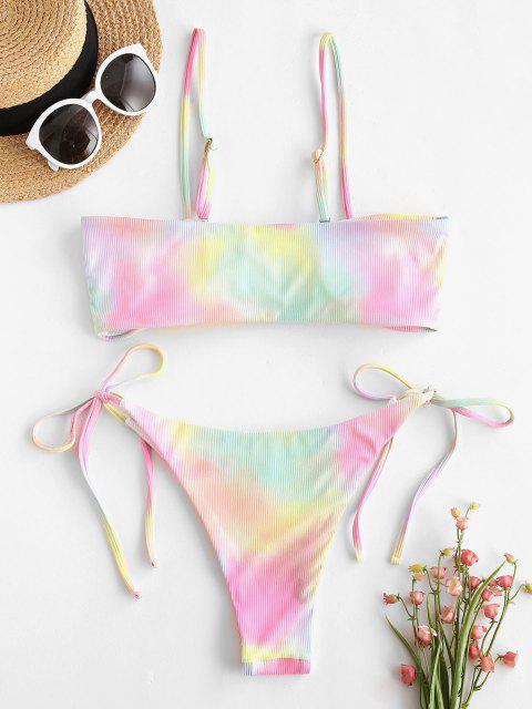 ZAFUL Bikini de Tie-dye con Lazo - Blanco M Mobile