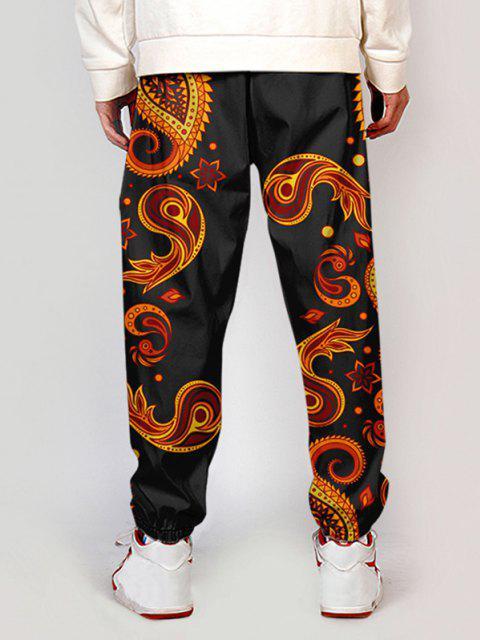 Pantalones Ajustados Diseño Impreso Floral Cachemir - Sangre Roja XS Mobile
