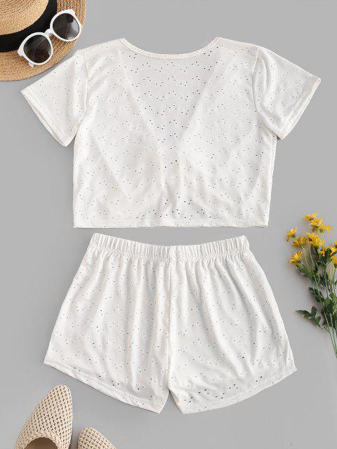 womens Eyelet Tie Plunge Two Piece Beach Shorts Set - WHITE ONE SIZE Mobile