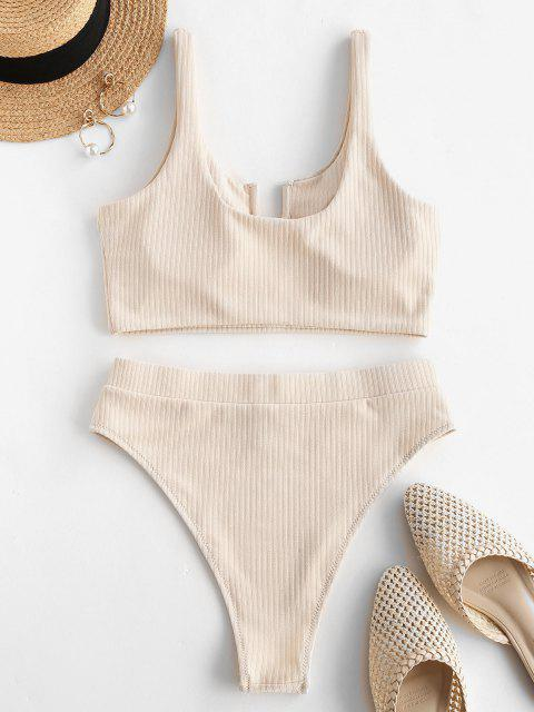shops ZAFUL Ribbed U-wired High Cut Tankini Swimwear - LIGHT COFFEE S Mobile