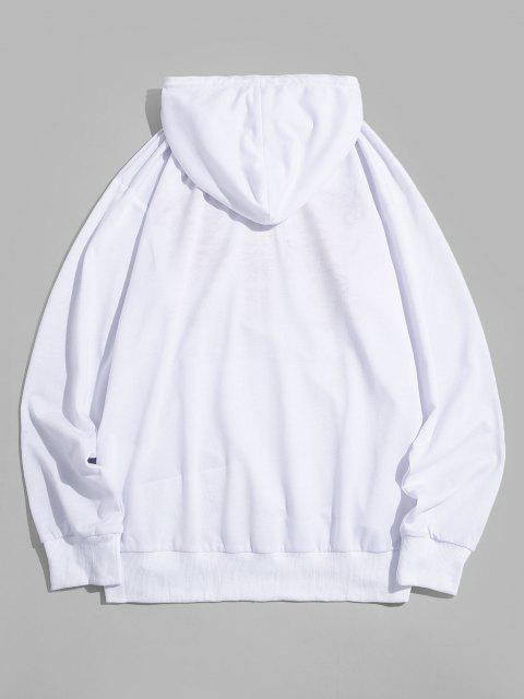 fancy ZAFUL Tiger Chinese Character Print Hoodie - WHITE S Mobile