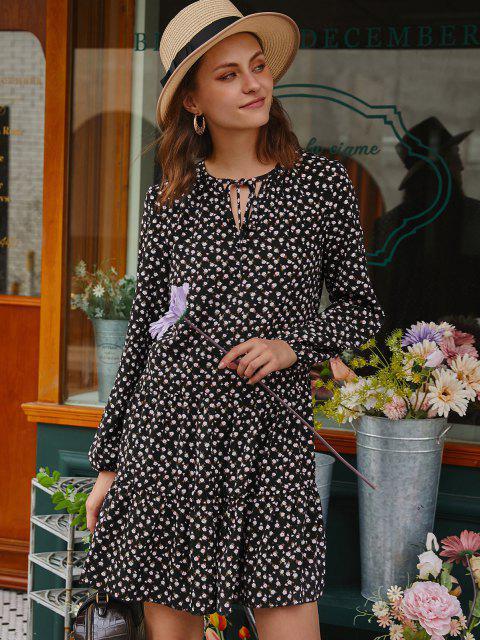 Mini Robe Fleurie Manches Longues à Col Noué - Noir S Mobile