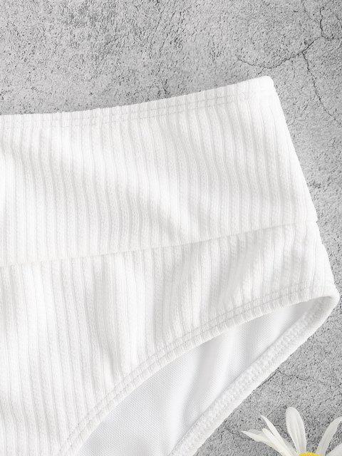 ZAFUL Bas de Bikini Côtelé Coupe Haute à Taille Large - Blanc S Mobile