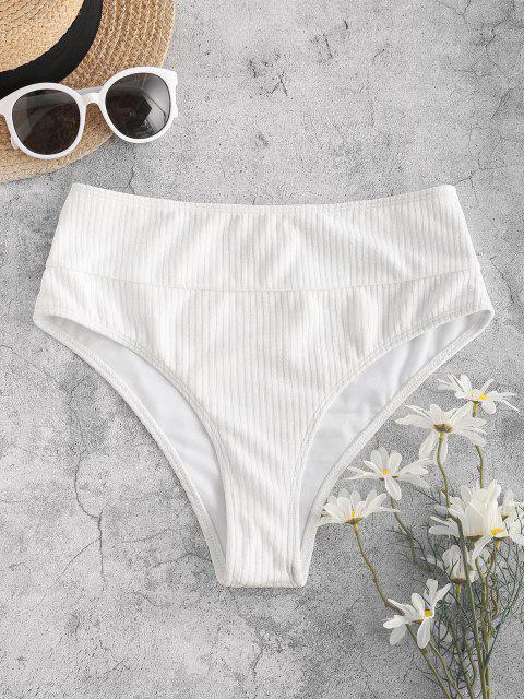 women ZAFUL Ribbed Wide Waistband High Cut Bikini Bottom - WHITE M Mobile