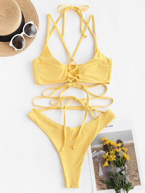 Costume da Bagno Bikini a Costine con Lacci di ZAFUL a Taglio Alto - Giallo S Mobile