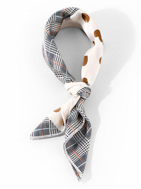 fancy Plaid and Heart Print Square Satin Scarf - COFFEE  Mobile