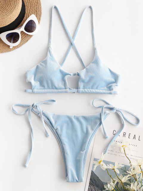 online ZAFUL Ribbed Velvet Cutout String Bikini Swimwear - LIGHT BLUE M Mobile