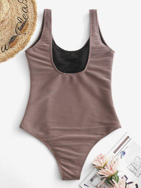 ladies ZAFUL Textured Ribbed Basic One-piece Swimsuit - DEEP COFFEE S Mobile
