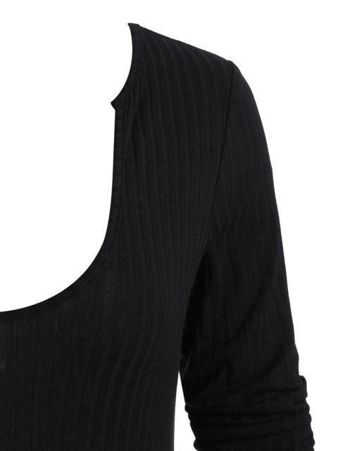 shop ZAFUL Ribbed U Neck Long Sleeve Bodysuit - BLACK S Mobile