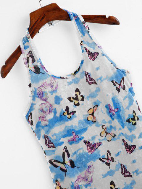 outfits Tie Dye Butterfly Dragon Velvet Halter Dress - LIGHT BLUE M Mobile