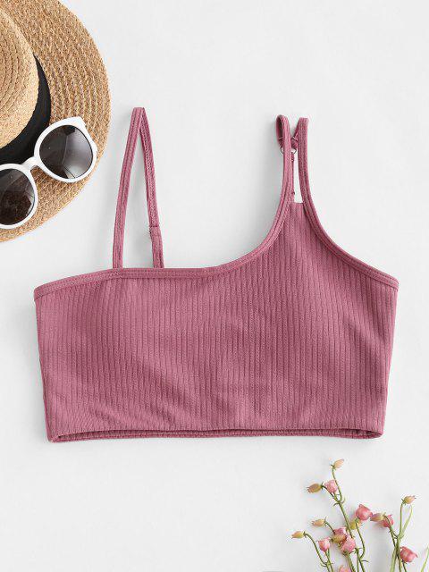 hot ZAFUL Ribbed Skew Collar Longline Bikini Top - LIGHT PINK M Mobile