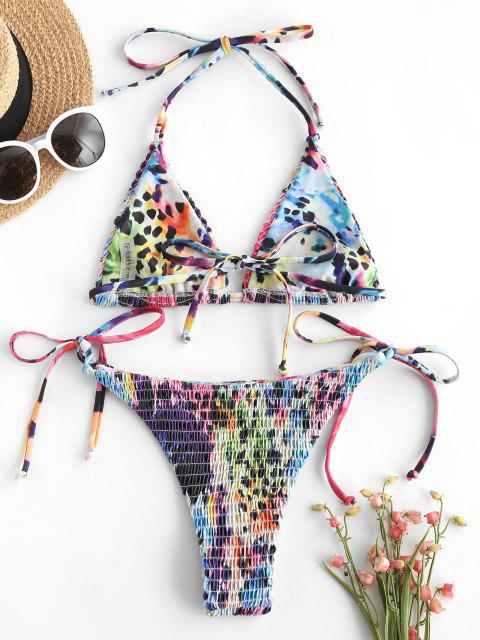 ZAFUL Bikini de Smocked con Lazo Lateral de Leopardo - Multicolor S Mobile