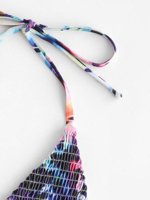 ZAFUL Bikini de Smocked con Lazo Lateral de Leopardo - Multicolor M Mobile