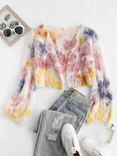 Fuzzy Tie Dye Open Cropped Cardigan - Multi
