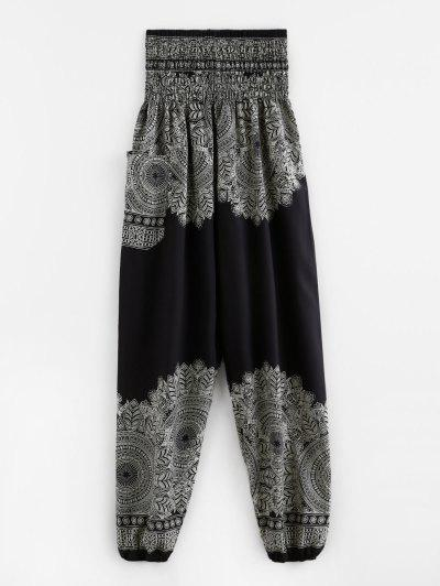 Smocked Waist Pocket Print Beam Feet Pants - Black