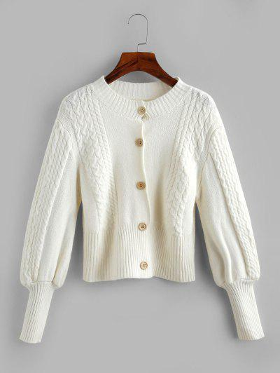 Cable Knit Balloon Sleeve Short Cardigan - White