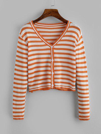 Contrast Short Striped Cardigan - Light Orange