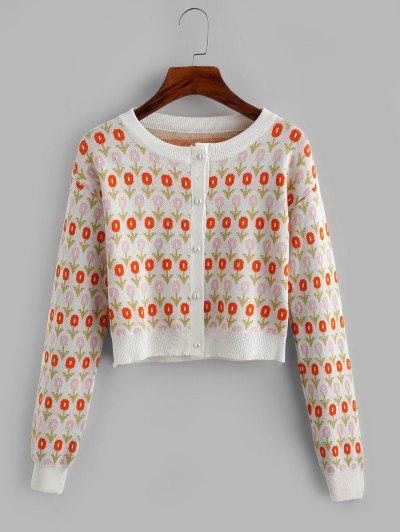 Jacquard Beaded Button Short Cardigan - Orange