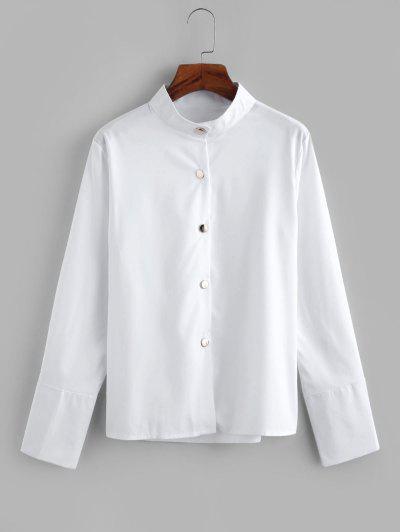 Metallic Button Down Office Shirt - White M