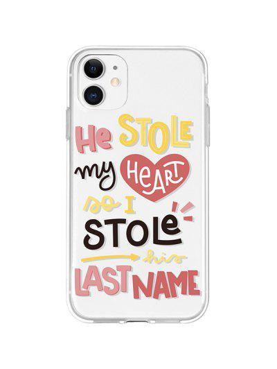 Letters Transparent Phone Case For IPhone - Rose Iphone 11