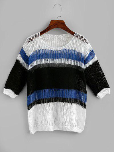 Openwork Drop Shoulder Wide Stripes Sweater - Blue