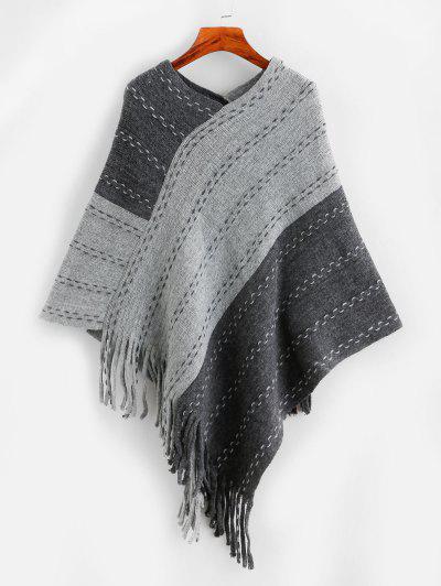 Fringed Colorblock Poncho Sweater - Dark Gray