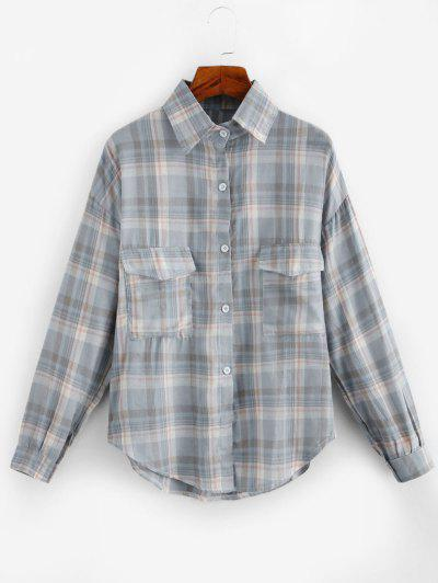 Oversized Long Sleeves Plaid Shirt With Pocket - Gray