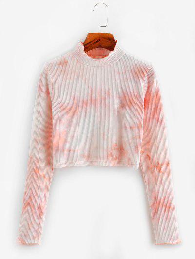 Tie Dye Ribbed Mock Neck Crop T-shirt - Light Pink L