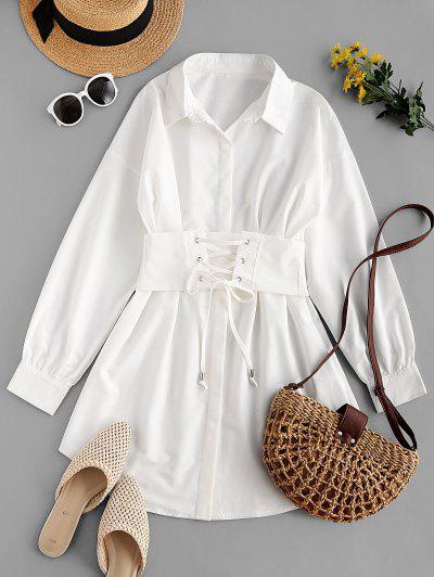 コルセットベルト付きプリーツシャツドレス - 白 Xl