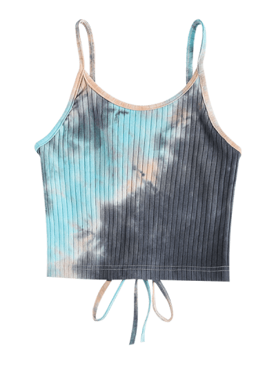 Lace Up Back Ribbed Tie Dye Crop Top