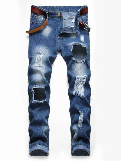 Distressed Destroy Wash Long Ripped Jeans - Denim Blue 36