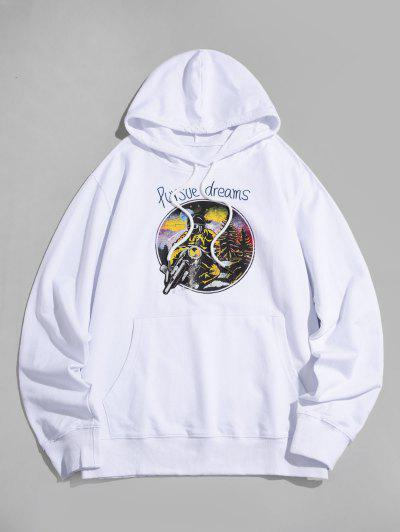 Cool Motorcycle Graphic Pouch Pocket Pullover Hoodie - White L